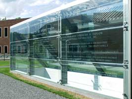 Glass panels part of Hebrew College donor recognition program