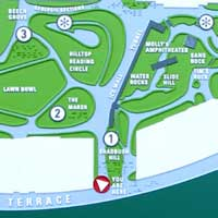 Tactile map designed by Coco Raynes Associates, Inc. in Teardrop Park, NYC. Zoom on the map.