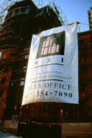 931 Massachusetts Avenue flag used during construction part of the branding designs made by CRA