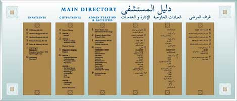 Wayfinding directory part of the wayfinding system of The Arab American Hospital | CRA