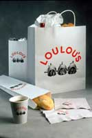 packaging part of Loulou's restaurant branding and visual identity | CRA Graphic Design