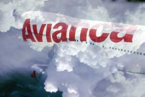 Avianca ingenious graphic Logo on a plane in the air