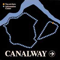 Zoom on Canalway map part of the sign system in Boot Mills Complex | CRA sign system design and consulting services