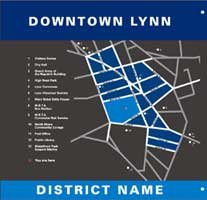 Downtown Lynn map part of the sign-system | CRA sign system design and consulting services