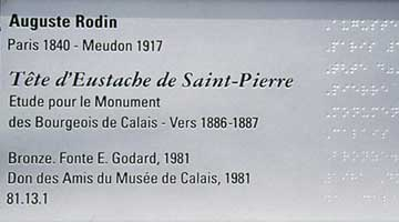 Museum Exhibit Design by Coco Raynes Associates, Inc. in Musee des Beaux Arts, Calais. Picture 9: Plaque with braille part of the museography