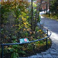 Map attachment to rail part of the sign system in Teardrop Park | CRA sign system design and consulting services