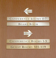 Wayfinding signage part of the ITT Sheraton Hotel branding, visual identity and sign system program | CRA Graphic Design