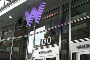 Another picture of the W architectural sign part of W Hotel branding and visual identity | CRA Graphic Design