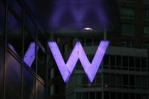 W signage part of W Hotel branding and visual identity | CRA Graphic Design