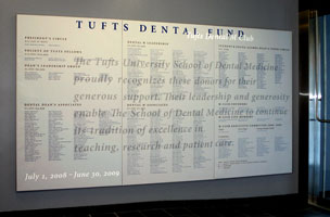 Wall panel part of Tufts' Donor Recognition Program