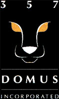 Black logo part of CRA branding design for 357 Domus